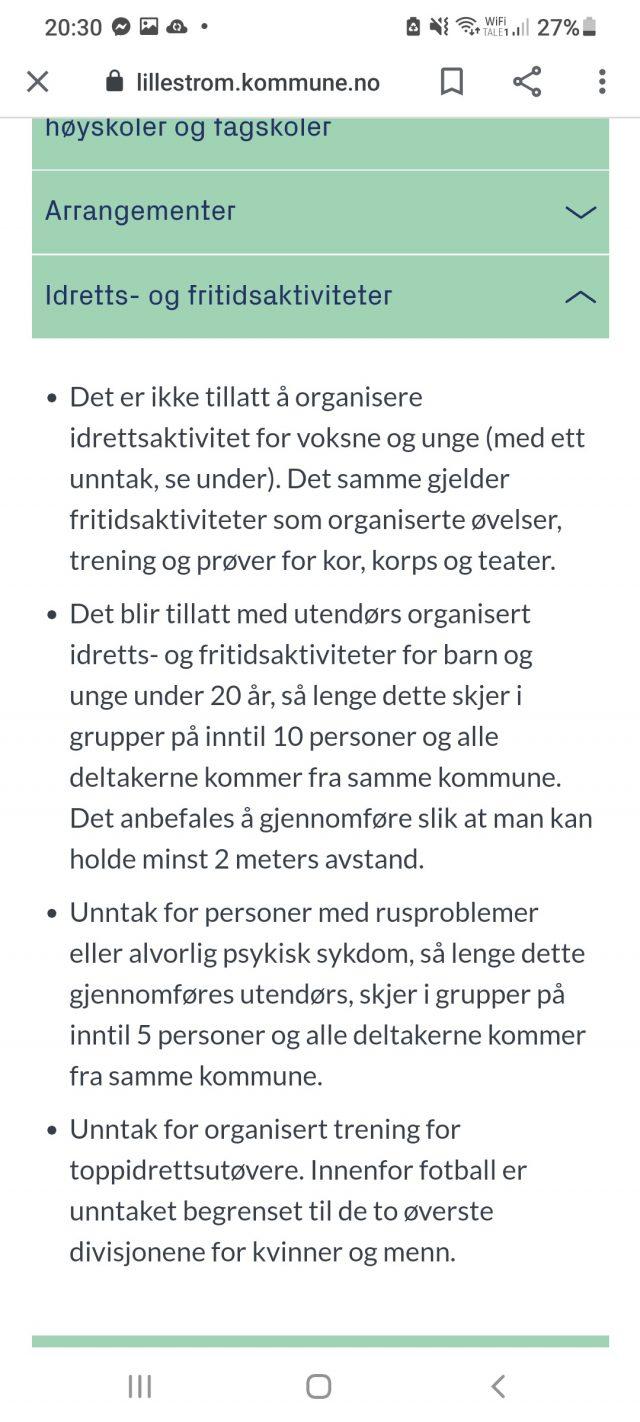 Korona regler for Lillestrøm pr 25/4